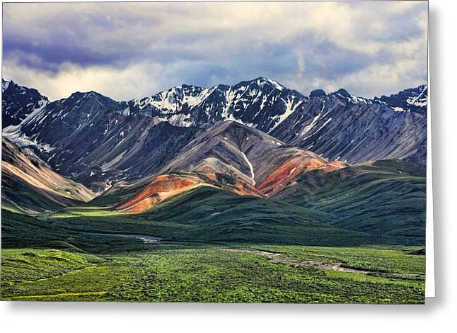 Mountains Greeting Cards - Polychrome Greeting Card by Heather Applegate