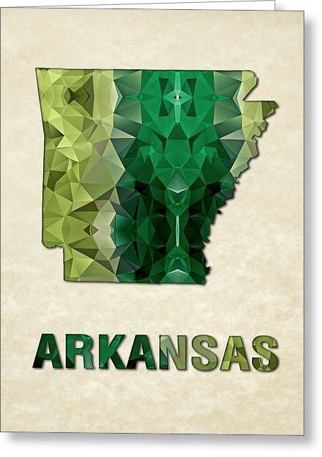 Arkansas Paintings Greeting Cards - Polygon Mosaic Parchment Map ARKANSAS Greeting Card by Elaine Plesser