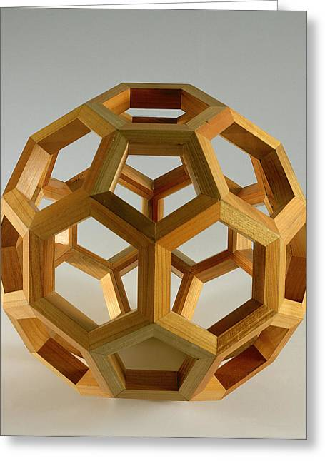 Structures Greeting Cards - Polyhedron Wood Greeting Card by Italian School