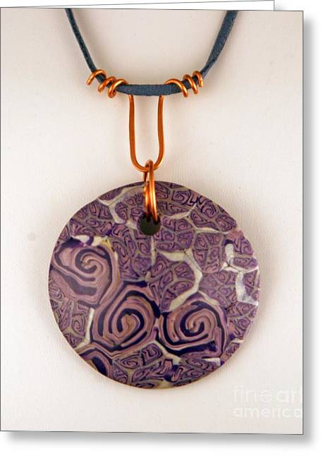 Handcrafted Jewelry Greeting Cards - Polymer Clay Pendant MC04211205 Greeting Card by P Russell