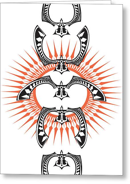 Ewa Greeting Cards - Polynesian Bird Greeting Card by MarceloSouza TattoosnGraphx