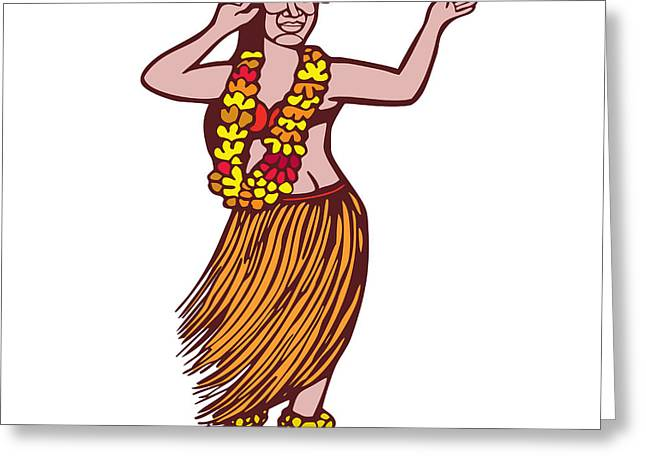 Linocut Greeting Cards - Polynesian Dancer Grass Skirt Linocut Greeting Card by Aloysius Patrimonio