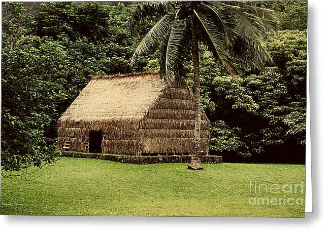 Thatch Greeting Cards - Polynesian Hut Greeting Card by Cheryl Young