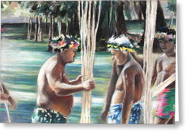 Festivities Drawings Greeting Cards - Polynesian Men with Spears Greeting Card by Miki De Goodaboom