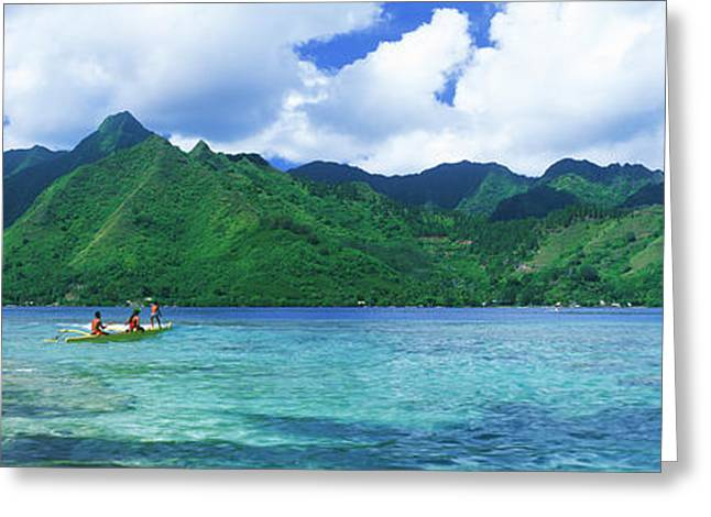 Canoe Photographs Greeting Cards - Polynesian People Rowing A Yellow Greeting Card by Panoramic Images