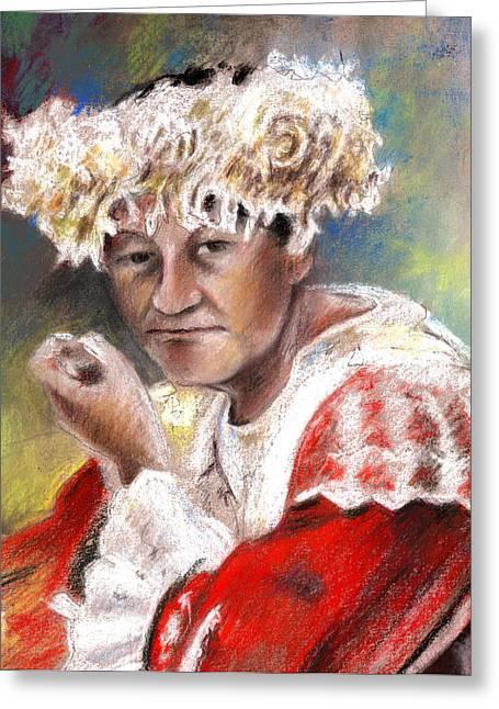 Festivities Drawings Greeting Cards - Polynesian Woman Greeting Card by Miki De Goodaboom