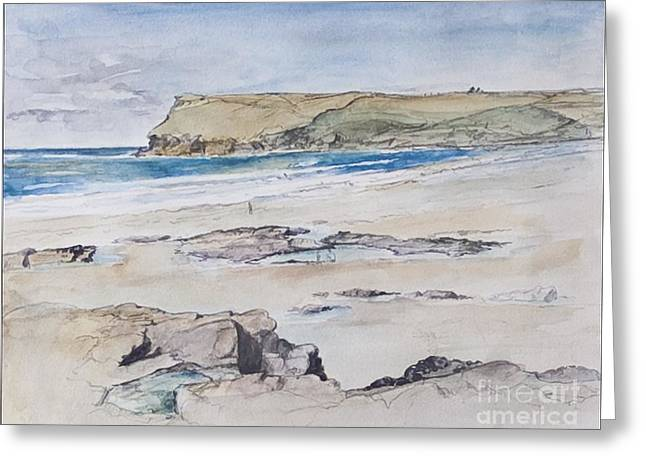 North Sea Greeting Cards - Polzeath and Pentire Head Greeting Card by Caroline Hervey-Bathurst