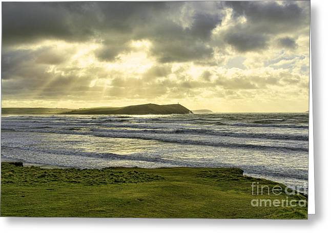 Cornish Beaches Greeting Cards - Polzeath Sunrays Greeting Card by Chris Thaxter