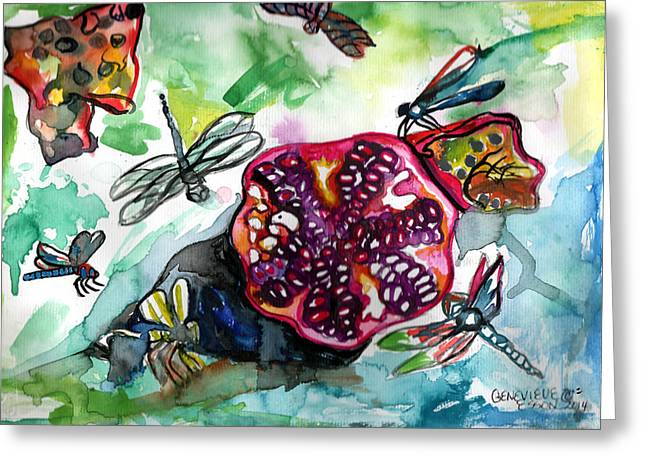 Esson Greeting Cards - Pomegranate and Dragonflies Greeting Card by Genevieve Esson