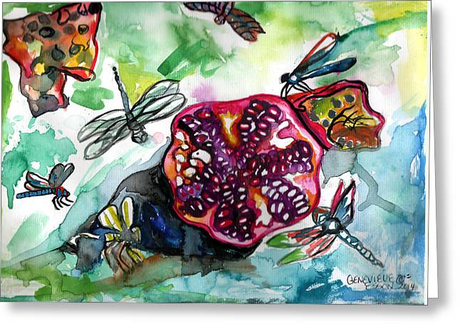Metal Dragonfly Greeting Cards - Pomegranate and Dragonflies Greeting Card by Genevieve Esson