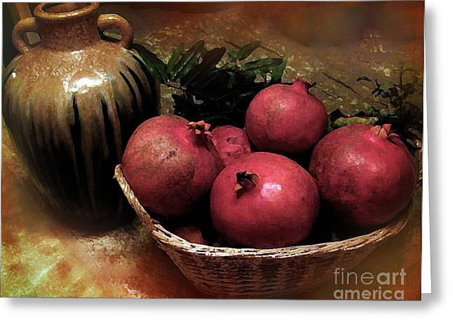 Table Greeting Cards - Pomegranate Basket and Clay Jar Greeting Card by Bedros Awak