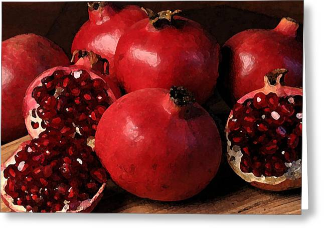 Still Life Photographs Drawings Greeting Cards - Pomegranate Greeting Card by Cole Black