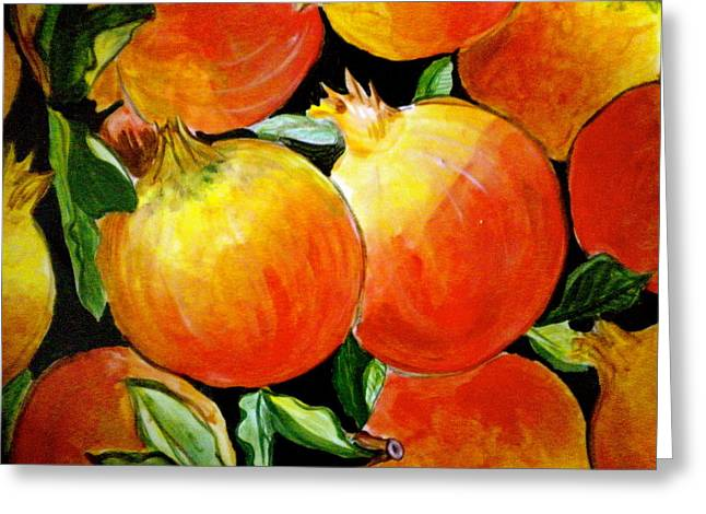Reflection Harvest Greeting Cards - Pomegranate Greeting Card by Debi Starr