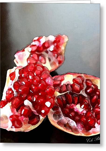 Still Life Photographs Drawings Greeting Cards - Pomegranate Detail Greeting Card by Cole Black