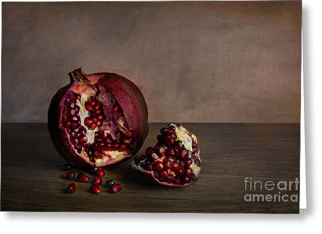 Rind Greeting Cards - Pomegranate Greeting Card by Elena Nosyreva