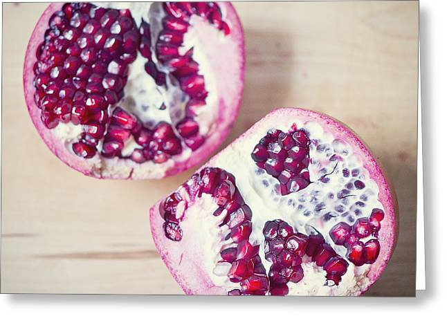 Greeting Cards - Pomegranate halves Greeting Card by Ivy Ho