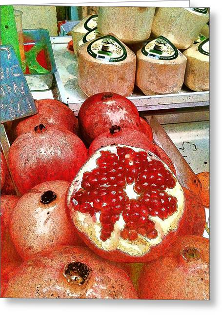 Pomegranate Greeting Cards - Pomegranates in Open Market Greeting Card by Lesa Fine