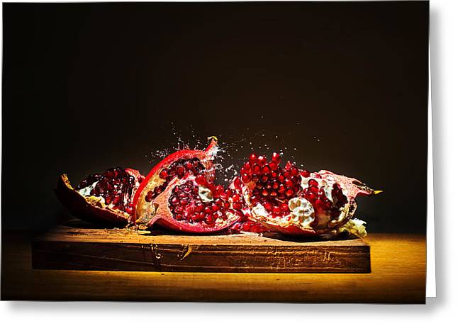 Pink Food Photography Greeting Cards - Pomegranate Greeting Card by Ivan Vukelic
