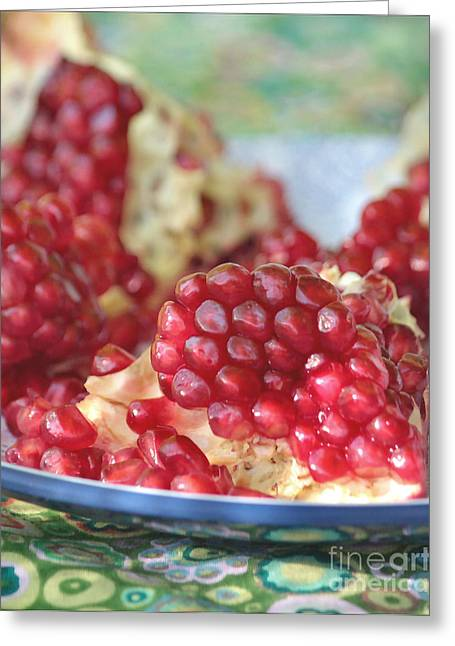 Healthy Greeting Cards - Pomegranate Seeds Close Up Greeting Card by Luv Photography