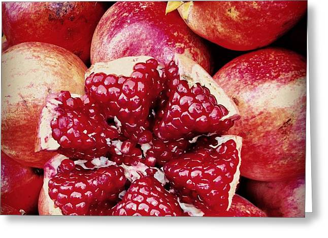Sour Greeting Cards - Pomegranate Star Greeting Card by Leyla Ismet