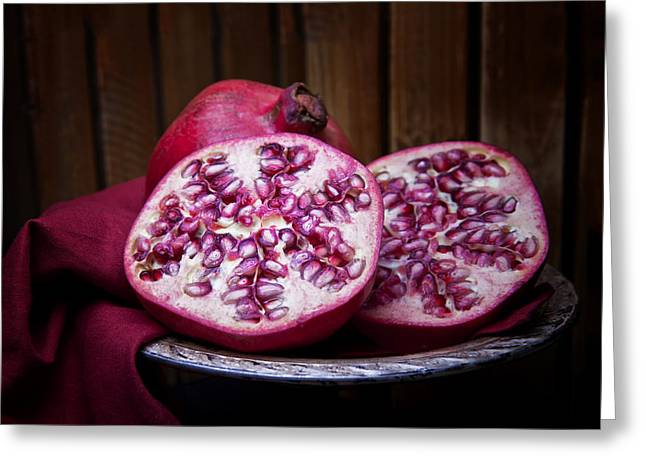 Fabric Greeting Cards - Pomegranate Still Life Greeting Card by Tom Mc Nemar