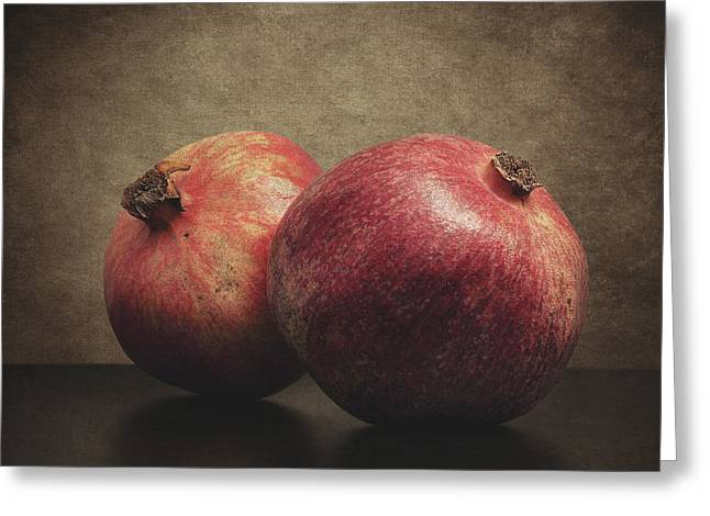 Reflection Harvest Greeting Cards - Pomegranate Greeting Card by Taylan Soyturk