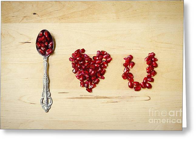 Passion Fruit Greeting Cards - Pomegranate typography I love U Greeting Card by Ivy Ho
