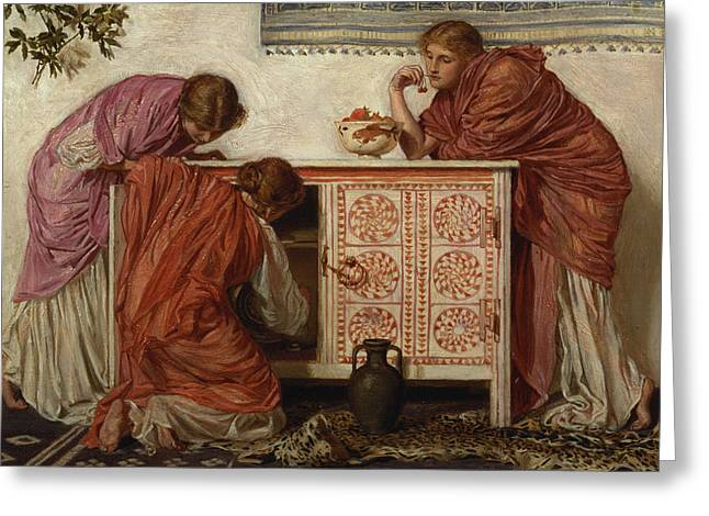 Pre-raphaelites Photographs Greeting Cards - Pomegranates, 1866 Oil On Canvas Greeting Card by Albert Joseph Moore