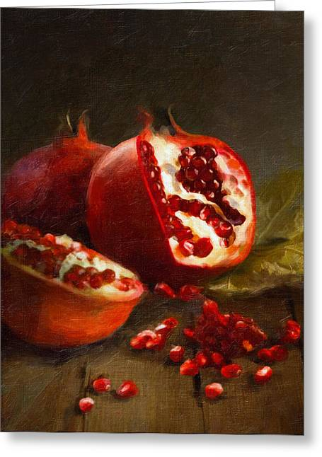 Cooks Illustrated Paintings Greeting Cards - Pomegranates 2014 Greeting Card by Robert Papp