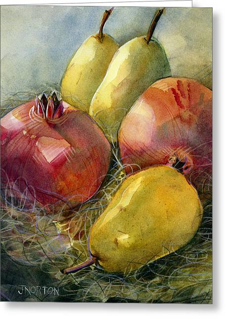 Restaurant Decor Greeting Cards - Pomegranates and Pears Greeting Card by Jen Norton