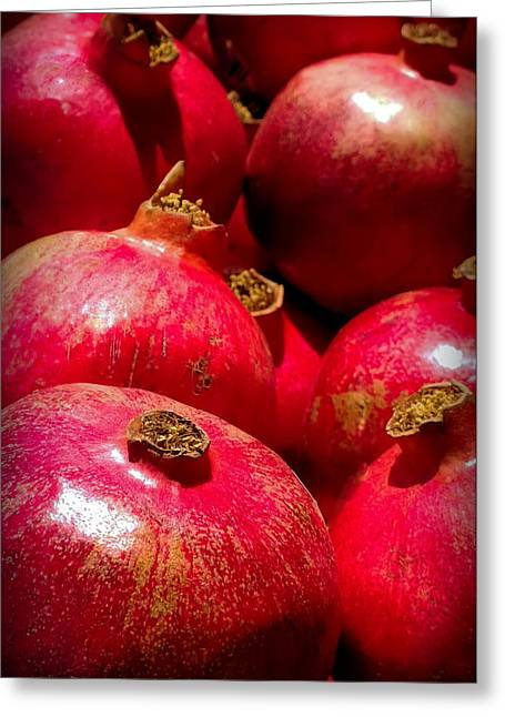 Exotic Fruit Greeting Cards - Pomegranates Greeting Card by Karen Wiles