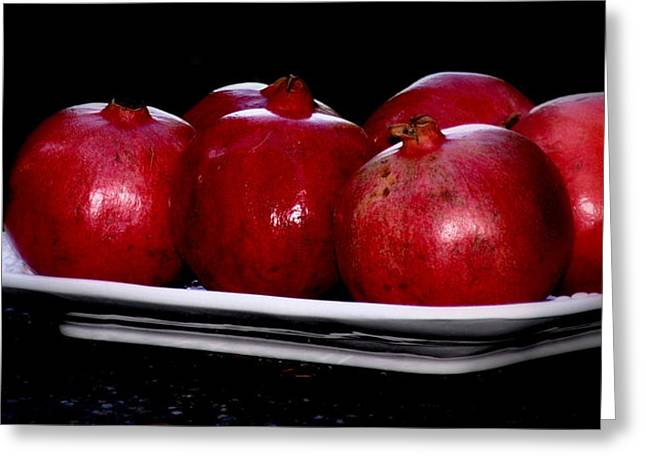 Searcy Greeting Cards - Pomegranates On White Platter Greeting Card by Tanya  Searcy