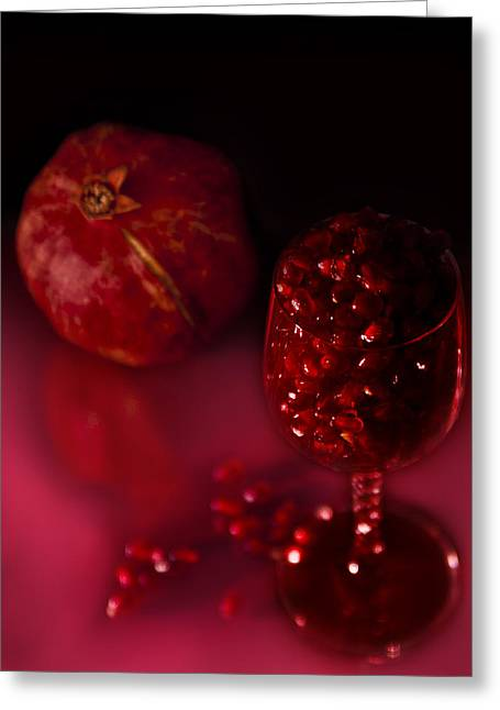Grenadine Greeting Cards - Pomegranite and glass Greeting Card by Kim M Smith