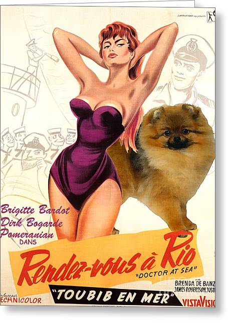 Sea Dog Prints Greeting Cards - Pomeranian Art Canvas Print - Doctor at Sea Movie Poster Greeting Card by Sandra Sij