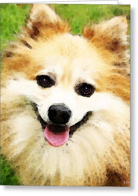 Pomeranian Greeting Cards - Pomeranian - Bright Eyes Greeting Card by Sharon Cummings