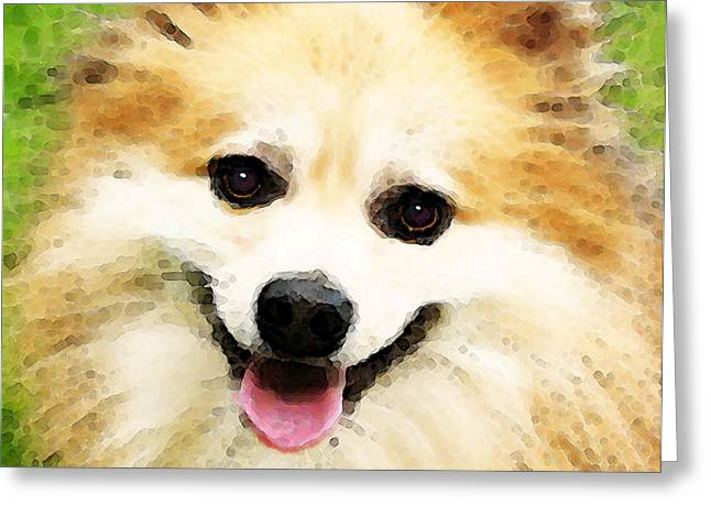 Pomeranian - Bright Eyes Greeting Card by Sharon Cummings