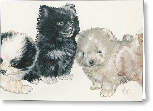 Toy Dogs Mixed Media Greeting Cards - Pomeranian Puppies Greeting Card by Barbara Keith