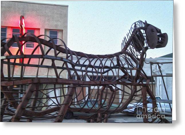 Pomona Art Walk Greeting Cards - Pomona Art Walk - Metal Horse Greeting Card by Gregory Dyer