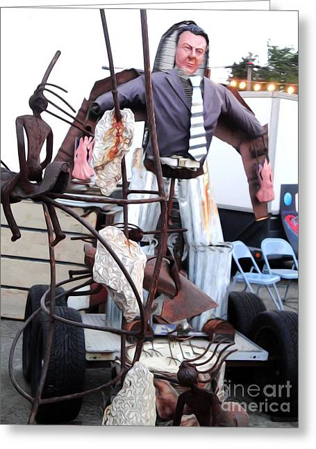 Pomona Art Walk Greeting Cards - Pomona Art Walk - Metal Man Greeting Card by Gregory Dyer