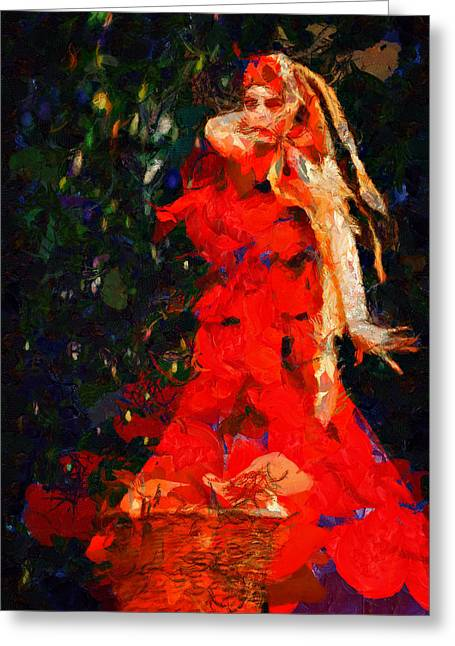 Female Legends Digital Art Greeting Cards - Pomona Goddess of the orchard Greeting Card by Nelieta Mishchenko