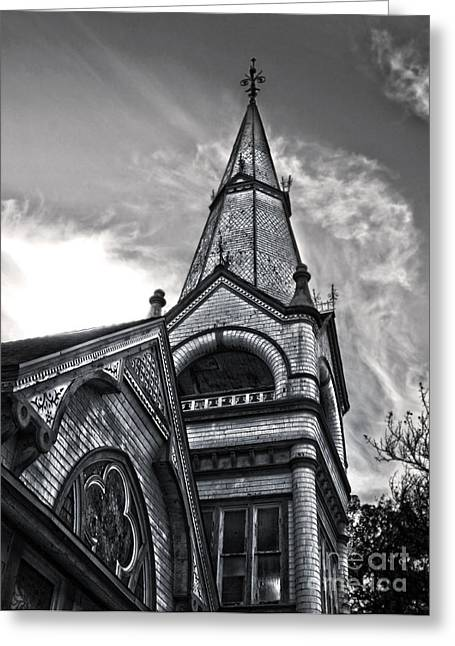 Pomona Art Walk Greeting Cards - Pomona Seventh Day Adventist Church in black and white Greeting Card by Gregory Dyer