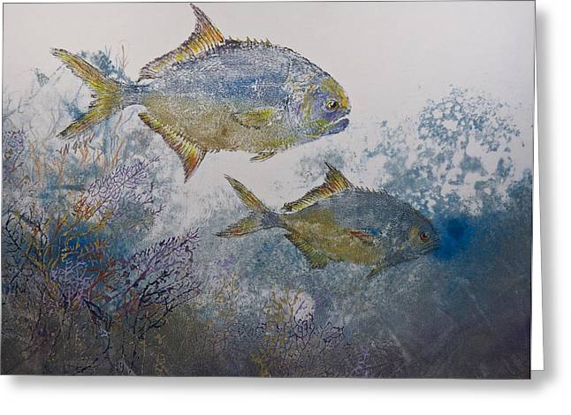 Fish Rubbing Greeting Cards - Pompano And Sea Fans Greeting Card by Nancy Gorr