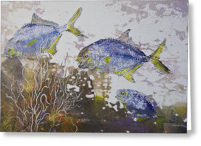 Gyotaku Greeting Cards - Pompano Trio Greeting Card by Nancy Gorr