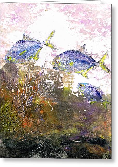Fish Rubbing Greeting Cards - Pompano Trio_verticle Greeting Card by Nancy Gorr