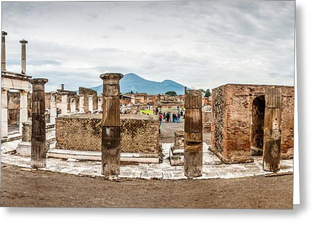 Medieval Temple Greeting Cards - Pompeii Pano Greeting Card by Laurent Fox
