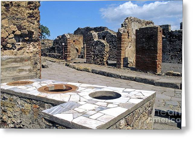Food Stall Greeting Cards - Pompeii Thermopolium Greeting Card by Pasquale Sorrentino