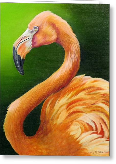 Greater Flamingos Greeting Cards - Pompous Greeting Card by Phyllis Beiser