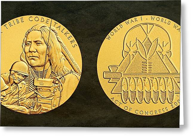 Wwi Greeting Cards - Ponca Tribe Code Talkers Bronze Medal Art Greeting Card by Movie Poster Prints
