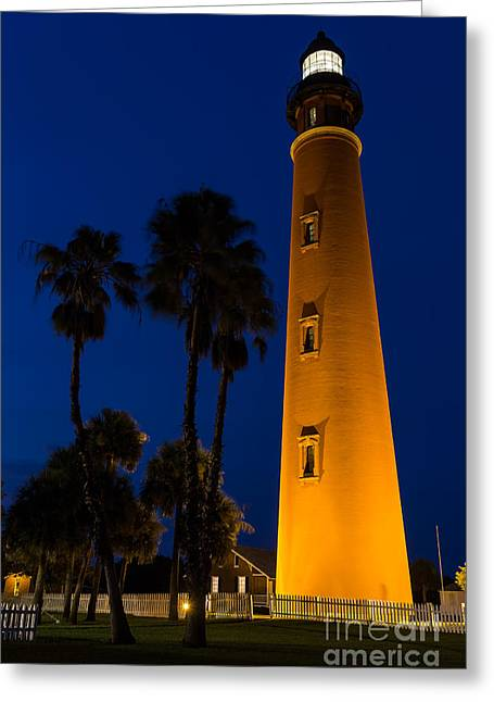 Beach At Night Greeting Cards - Ponce de Leon Lighthouse at Blue Hour Daytona Beach Florida Greeting Card by Dawna  Moore Photography