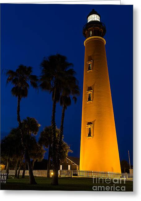 Beach At Night Greeting Cards - Ponce de Leon Lighthouse at Twilight Daytona Beach Florida Greeting Card by Dawna  Moore Photography